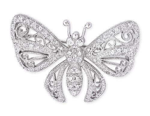 Filigree C.Z. Diamond Sterling Silver Butterfly Brooch (Nice Holiday Gift, Special Black Firday Sale)