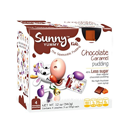 Sunny Yummy Kids Squeezable Pudding, Chocolate And Caramel, 4 Count (Pack Of 6)