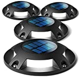 Home Zone Security Solar Deck Lights - Outdoor Solar Dock and Driveway Path Lights, Weatherproof with No Wiring Required, Black (4-Pack) (Color: Black)