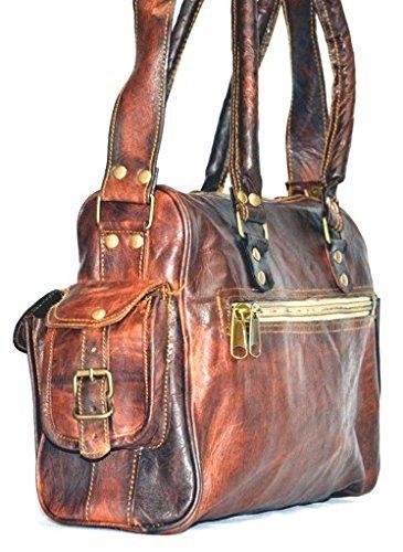 goatstuff Sac en cuir véritable/Sac à main/sac/sac à main/sac cabas, marron (Marron) - C0-TSCD-YEY7