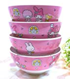 Authentic Sanrio My Melody Cereal Rice Salad 4 Bowls Melamine Tableware Set Kids