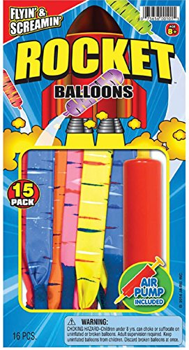 Rocket Balloons with Air Pump 15-Count
