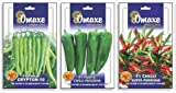 SUPER CHILLI 3 TYPES COMBO-SURYA PARISKHA, VASUDHA, CRYPTON/ 50SEEDS EACH BRAND Omaxe Sold by Super Agri Green