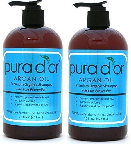 Double Pack - PURA D'OR Shampoo Premium per Prevenzione Caduta dei Capelli con Olio di Arga Organico (Etichetta Blu), 473 ml