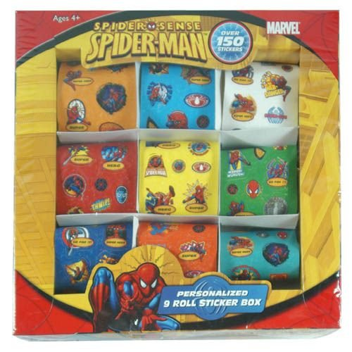 Spiderman 9 Roll Sticker Box Over 150 Stickers