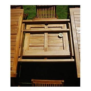 Table de jardin ovale teck huilé 6/8 personnes larg 120 cm ...