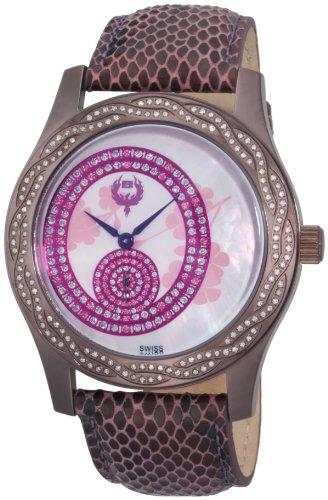 Brillier Women's 03-71327-02 Kalypso Plum-Plated Purple Snakeskin Watch