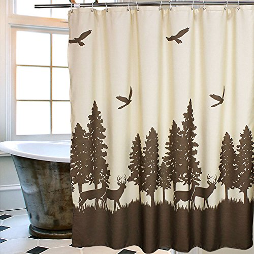 Uphome 72 X 72 Inch Natural Waterproof Deer in the Forest Bathroom Shower Curtain - Beige and Coffee Mildewproof Polyester Fabric Kids Bathroom Curtain Designs