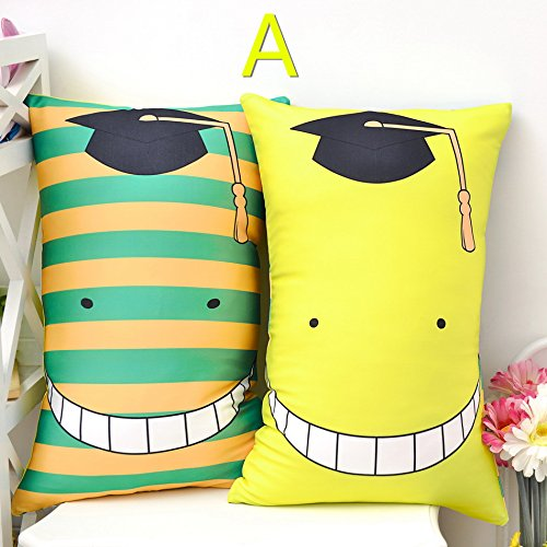 Anime Ansatsu Kyoushitsu Koro-sensei Two-sided Expression Plush Doll Cushion Cosplay Gift Pillow [T] (A)
