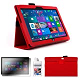 DURAGADGET Executive Red Faux Leather Folio Case With Built In Stand Custom Designed For The Microsoft Surface 10.6 Inch Tablet (With Windows RT, 32GB, 64GB, Type Cover Keyboard) + FREE Gift: Screen Protector Worth £3.99 + BONUS Cleaning Cloths