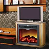 FAGNYAN 750W/1500W Free-standing Compact Electric Fireplace Stove, Black & Buff