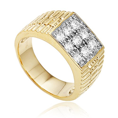 Men's Goldtone CZ Ribbed Square Ring Sizes 10-11 (10)