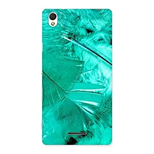 Cyan Feather Back Case Cover for Sony Xperia T3