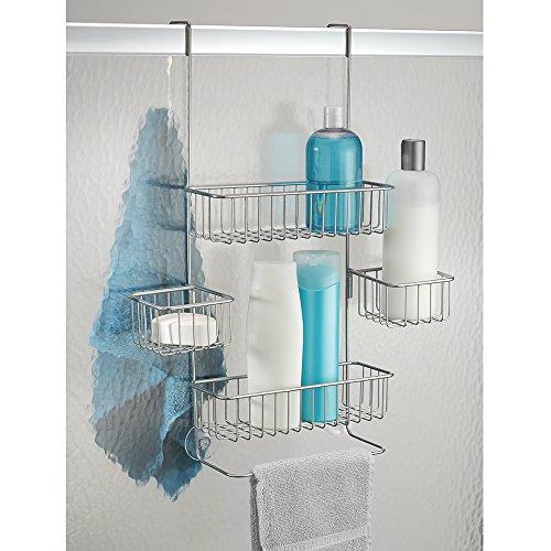 interdesign metalo bathroom over door shower caddy for shampoo conditioner soap silver home. Black Bedroom Furniture Sets. Home Design Ideas