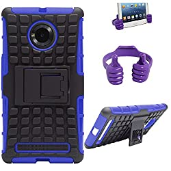 DMG Dual Hybrid Hard Grip Rugged Kickstand Armor Case for YU Yuphoria YU5010 (Blue) + Mobile Holder Hand Stand