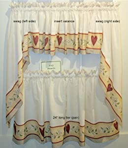 Hearts - Insert Valance Kitchen Curtain