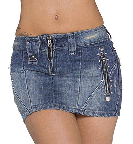 jowiha® Jeans Minirock mit Nieten und Taschen mit Reißverschluss