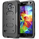 i-Blason Samsung Galaxy S5 Case - Armorbox Dual Layer Hybrid Full-body Protective Case with Front Cover and Built-in Screen Protector / Impact Resistant Bumpers (Black, Samsung Galaxy S5)