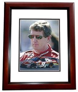Bill Elliott Autographed Hand Signed Racing 8x10 Photo MAHOGANY CUSTOM FRAME by Real Deal Memorabilia