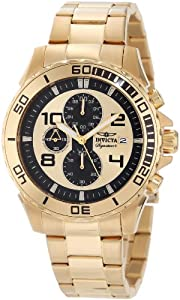 Invicta Men's 7392 Signature Chronograph Gold Tone Dial Ion-Plated Stainless Steel Watch