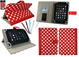 Emartbuy® Bundle of 5 Dual Function Stylus + Universal Range Polka Dots Red / White Multi Angle Executive Folio Wallet Case Cover With Card Slots Suitable for HP Slate 7 Plus HD