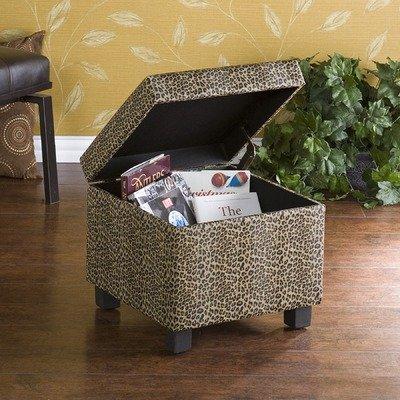Wilson Leopard Faux Leather Storage Ottoman