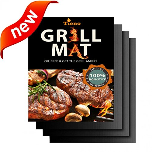 TIENO Non-Stick BBQ Grill Mats 16 x 13 Inches 0.20mm Thick for Charcoal, Electric and Gas Grills FDA Approved PFOA & BPA FREE Set of 3 (Bbq Grill Protector compare prices)