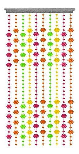 UltraViolet Distributing Beaded Curtain, Blacklight Reactive, Multi-Color Flower Door Beads - 72