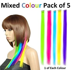 CKB Ltd Pack of 5 MIXED NEON Colour Straight Clip on Hair Extensions 38cm Hairpiece CKB00022