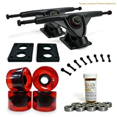 Buy LONGBOARD Skateboard TRUCKS COMBO set w  71mm WHEELS + 9.675 Polished Black trucks Package by Yocaher by Yocaher