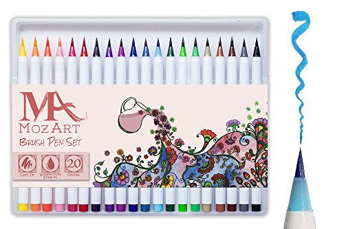 Brush Pen Set - 20 Colors - Soft Flexible Real Brush Tip, Durable, Premium Grade, Create Watercolor Effect - Best for Adult Coloring Books, Manga, Comic, Calligraphy - Dual Thickness - MozArt Supplies