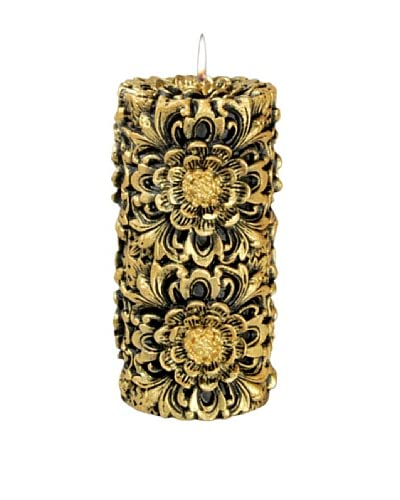 Volcanica Dendritic Pillar Candle, Black/Gold, Medium