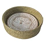 Handwoven Bread Roll Basket w Lotus Terracotta Warming Tile 11 Inch Width (Natural)