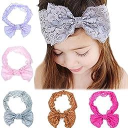 Kingyee Kids Baby Headbands cute Hairbands Girl\'s super soft Hair Bows Newborn Headband(5pcs)
