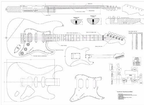 fender jazzmaster body template - full scale plans for the fender stratocaster deluxe hss