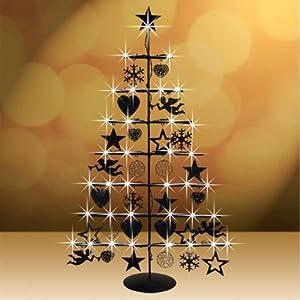 weihnachtsbaum aus metall 75 cm beleuchtet schwarz oder. Black Bedroom Furniture Sets. Home Design Ideas