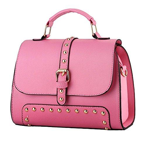 koson-man-womens-vintage-buckle-sling-tote-bags-top-handle-handbagpink