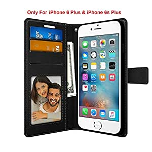 FOSO(™) High Quality PU Leather Magnetic Flip Cover Wallet Back Cover Case For Apple iPhone 6 Plus / 6S Plus (Executive Black)