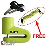 FD-MOTO Security Bike Bicycle Scooter Motorcycle Motorbike Disc Lock + Free Reminder Cable