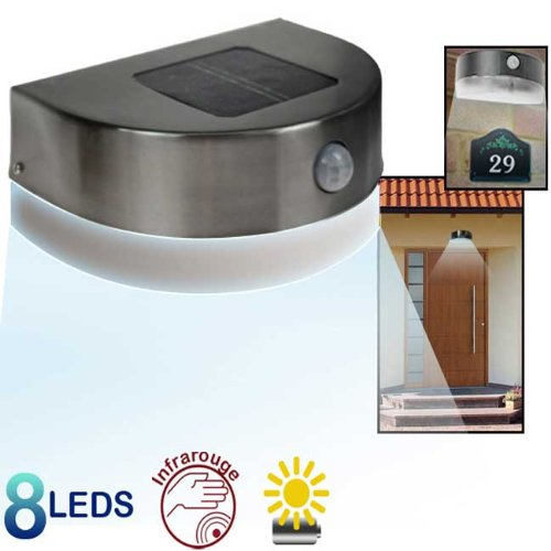 lampe solaire inox 8 leds
