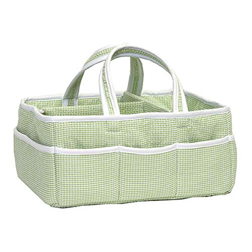 Gingham Seersucker Storage Caddy (Sage) front-1064984