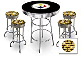 5 Piece Yellow Pittsburgh Steelers Logo Chrome Finish Black Pub Table w/ 4 Bar Stools
