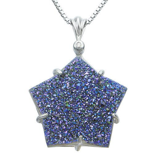 Sterling Silver Titanium Blue Drusy and Diamond Accent Star Pendant Necklace