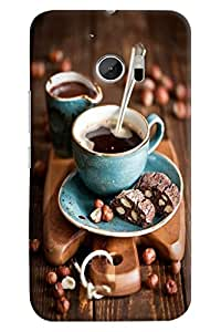 Omnam Tea Cup With Plate And Cookies Back Cover Case For HTC 10