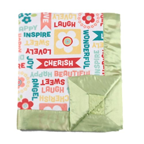 "My Blankee Word Play Minky Juicy Fruit w/ Minky Dot Apple Green Baby Blanket, 30"" x 35"""