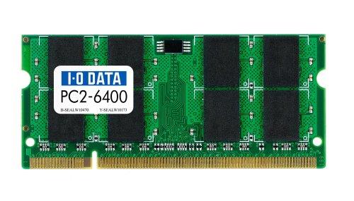 【Amazonの商品情報へ】I-O DATA PC2-6400 (DDR2-800) S.O.DIMM 2GB SDX800-2G/EC