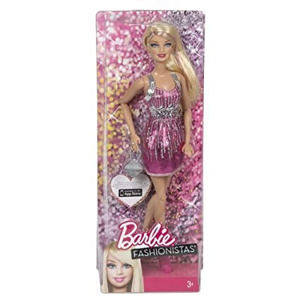 Barbie Fashionistas Barbie Doll - Pink and Silver Dress by Mattel TOY (English Manual)