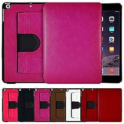 AirCase Premium Leather 360 Degree Rotatable Slim Portfolio Case for iPad Mini Retina[HOT PINK]