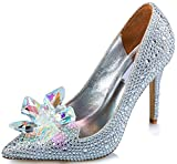 Littleboutique Cinderella Princess Crystal Shoes Glass Flower Wedding Shoes Evening Dress Heels white 8