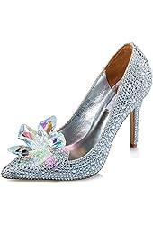 Littleboutique Cinderella Princess Crystal Shoes Glass Flower Wedding Shoes Evening Dress Heels